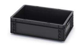 ESD-EG4312-HG | AUER Euro-bak ESD antistatisch, gesloten uitvoering, afm. 400x300x120 mm (lxbxh), handgrepen gesloten, inhoud 10 liter, stapelbaar, zwart RAL 9017, gewicht 1,01 kg, fabrieksgarantie 5 jr