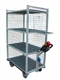 0403002 | FLEXY CART elektrische etagewagen EWM5, aandrijving 24Vdc/350W, stalen opbouw, 5 etages, draadgaas kopwanden, 1060x600x1600 mm (lxbxh), laadvermogen 650 kg