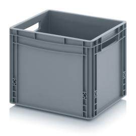 EG4332 | AUER eurobox  gesloten uitvoering, afm. 40x30x32 cm (lxbxh), handgrepen open, stapelbaar, RAL 7001 zilvergrijs, inhoud 30 l, gewicht 1,59 kg