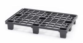 Lichtgewicht kunststof pallet, 1200x600x150 mm (lxbxh), 9 poten, kleur zwart
