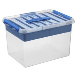 79800411 | SUNWARE Q-Line Multibox met inzet, handgreep, clipsluiting, 22,0 liter, transparant/blauw, A4 bodemmaat