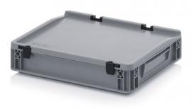 ED4375-HG | QUALITY BOX eurobak met scharnierend deksel, afm. 40x30x9 cm (lxbxh), handgrepen gesloten, stapelbaar, zilvergrijs, inhoud 5,2 liter, gewicht 1,17 kg