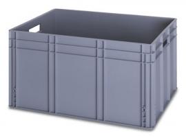 EG8642 | QUALITY BOX eurobak gesloten uitvoering, afm. 80x60x42 cm (lxbxh), handgrepen open, stapelbaar, zilvergrijs, inhoud 172 liter, gewicht 6,12 kg