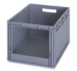 SLK6432 | AUER eurobak met raamopening 31x22 cm, afm. 60x40x32 cm (lxbxh), handgrepen open, stapelbaar, RAL 7001 zilvergrijs, gewicht 2,27 kg