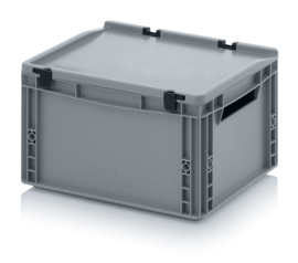 ED4322 | AUER eurobak met scharnierend deksel en sluitingen, afm. 40x30x23,5 cm (lxbxh), handgrepen open, stapelbaar, zilvergrijs RAL 7001, volume 20 liter, gewicht 1,72 kg, fabrieksgarantie 5 jr