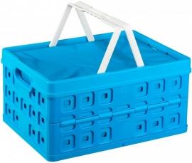 57200611 | SUNWARE Coolshopper vouwkrat met uitneembare koeltas, open handgrepen, draaghengsels, afm. 49x36x25 cm (bxdxh), draagvermogen 30 kg, inhoud 32 liter, kleur blauw/wit, gewicht 1,5 kg
