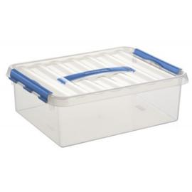 78600611 | SUNWARE Q-Line opbergbox met handgreep, 12,0 liter, transparant/blauw , A4 bodemmaat