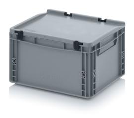ED4322-HG | AUER eurobak met scharnierend deksel en sluitingen, afm. 40x30x23,5 cm (lxbxh), handgrepen gesloten, stapelbaar, zilvergrijs RAL 7001, volume 20 liter, gewicht  1,72 kg, fabrieksgarantie 5 jr