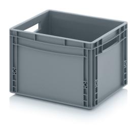 EG4327 | AUER eurobak gesloten uitvoering, afm. 40x30x27 cm (lxbxh), handgrepen open, stapelbaar, zilvergrijs, 26 liter, gewicht 1,41 kg