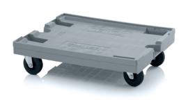 RO86-GU | AUER transportroller MAXI voor stapelbare Eurobakken 80x60 cm of 40x30 cm, 4x rubber zwenkwielen ø 12,5 cm ongeremd, draagvermogen 250 kg, kleur zilvergrijs, gewicht 8,86 kg