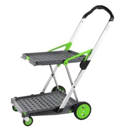 399050 | CLAX inklapbare vouwkrattrolley zonder vouwkrat(ten), kleur grijs-groen, draagvermogen 60 kg, afm. 890x550x1025 mm (lxbxh), gewicht 6,7 kg, fabrieksgarantie 5 jr