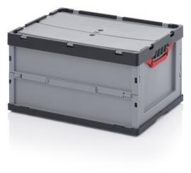 FBD6432 | AUER euro-vouwbak met tweedelig klapdeksel, afm. 60x40x32 cm (lxbxh), volume 62 l, handgrepen open, stapelbaar, RAL 7001 zilvergrijs/RAL 7016 antracietgrijs, gewicht 3,72 kg