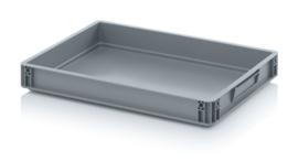 EG6475-HG | AUER eurobox gesloten uitvoering, afm. 60x40x7,5 cm (lxbxh), handgrepen gesloten, stapelbaar, RAL 7001 zilvergrijs,  inhoud 15 l, gewicht 1,02 kg