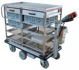 0402007 | FLEXY CART elektrische drankenserveerwagen ESW7, aandrijving 24Vdc/350W, rvs opbouw met laadvlak 1150x570 mm (lxb) en laden, laadvermogen 500 kg, gewicht 106 kg
