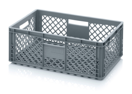 EO6422 | AUER eurobak met geperforeerde bodem en wanden, afm. 60x40x22 cm (lxbxh), RAL 7001 zilvergrijs, inhoud 43 liter, gewicht 1,57 kg, fabrieksgarantie 2 jr