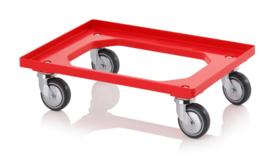 RO64-GU-FA-RD | AUER transportroller COMPACT voor stapelbare Eurobakken 60x40 cm of 30x40 cm, 4x rubber zwenkwielen met asbescherming ø 10 cm ongeremd, wielvorken gegalvaniseerd, draagvermogen 250 kg, kleur rood RAL 3020, gewicht 3,7 kg