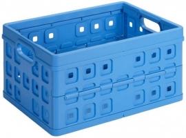 57300611 | SUNWARE Square stapelbare vouwkrat met open handgrepen, afm. 54x38x26,5 cm (bxdxh), draagvermogen 30 kg, inhoud 46 liter, kleur blauw, gewicht 1,4 kg, fabrieksgarantie 2 jr