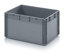 EG6432-HG | AUER eurobox gesloten uitvoering, afm. 60x40x32 cm (lxbxh), handgrepen gesloten, stapelbaar, RAL 7001 zilvergrijs, inhoud 66 l, gewicht 2,41 kg