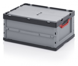 FBD6427 | AUER euro-vouwbak met tweedeli klapdeksel, afm. 60x40x27 cm (lxbxh), volume 52 l, handgrepen open, stapelbaar, RAL 7001 zilvergrijs/RAL 7016 antracietgrijs, gewicht 3,45 kg