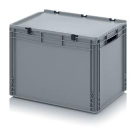 ED6442 | AUER eurobak  met scharnierend deksel en sluitingen, afm. 60x40x43,5 cm (lxbxh), handgrepen open, stapelbaar, zilvergrijs RAL 7001, volume 88 liter, gewicht 3,72 kg, fabrieksgarantie 5 jr