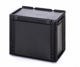 ESD-ED432-HG | AUER eurobak antistatisch, gesloten uitvoering met  scharnierend deksel, afm. 400x300x335 mm (lxbxh), handgrepen gesloten, stapelbaar, zwart, 30 liter