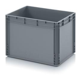 EG6442-HG | AUER eurobox gesloten uitvoering, afm. 60x40x42 cm (lxbxh), handgrepen gesloten, stapelbaar, RAL 7001 zilvergrijs, inhoud 88 l, gewicht 2,97