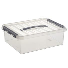79500609 | SUNWARE Q-Line opbergbox met handgreep, 10,0 liter, transparant/zwart , A4 bodemmaat