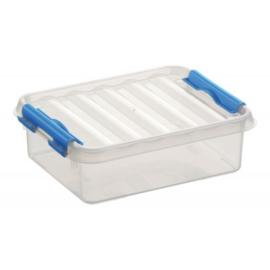 77900611 | SUNWARE Q-Line opbergbox 1,0 liter, afm. 20x15x6 cm (bxdxh), transparant/blauw, stapelbaar
