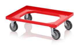 RO64-GU-BO-RD | AUER transportroller COMPACT voor stapelbare Eurobakken 60x40 cm of 30x40 cm, 2x rubber zwenkwielen, 2x rubber bokwielen, ø 10 cm ongeremd, wielvorken gegalvaniseerd, draagvermogen 250 kg, kleur rood RAL 3020, gewicht 3,7 kg