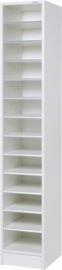 E31W42 | PRIMA OFFICE vakkenkast Classic Singel/Maxi, 1 kolom 13 vakken, vakhoogte 115 mm, afm. 320x400x1800 mm (bxdxh), decor witlaminaat