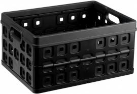 57000612 | SUNWARE Square stapelbare vouwkrat met open handgrepen, afm. 49x36x25 cm (bxdxh), draagvermogen 30 kg, inhoud 32 liter, kleur zwart, gewicht 1,0 kg