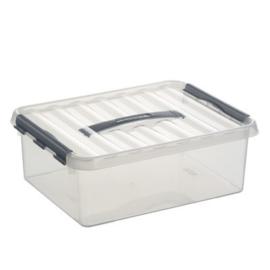78600609 | SUNWARE Q-Line opbergbox met handgreep, 12,0 liter, transparant/zwart, A4 bodemmaat