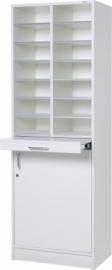 E31W21 | Kast Classic IP-625/D, vloermodel, 2 kolommen, 14 vakken 115 mm hoog, uittrekbaar werkblad, draaideuronderkast incl. slot, verstelbaar legbord, decor witlaminaat