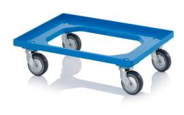 RO64-GU-FA-BW | AUER transportroller COMPACT voor stapelbare Eurobakken 60x40 cm of 30x40 cm, 4x rubber zwenkwielen met asbescherming ø 10 cm ongeremd, wielvorken gegalvaniseerd, draagvermogen 250 kg, kleur blauw RAL 5015, gewicht 3,7 kg