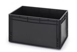 ESD-EG6432-HG | AUER eurobak antistatisch, gesloten uitvoering, afm. 600x400x320 mm (lxbxh), handgrepen gesloten, stapelbaar, zwart, 66 liter