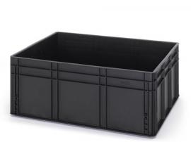 ESD-EG-8632-HG | AUER eurobak antistatisch, gesloten uitvoering, afm. 80x60x32 cm (lxbxh), volume 130 l, stapelbaar, RAL 9017 zwart, gewicht 5,48 kg