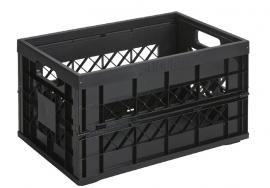 57700612 | SUNWARE Square Heavy Duty stapelbare vouwkrat met stalen pinnen, open handgrepen, afm. 530x354x284/50 mm (bxdxh), draagvermogen 30 kg, inhoud 45 liter, kleur zwart, gewicht 1,8 kg