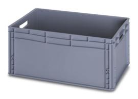 EG6427 | AUER eurobox gesloten uitvoering, afm. 60x40x27 cm (lxbxh), handgrepen open, stapelbaar, RAL 7001 zilvergrijs, inhoud 56 l, gewicht 2,17 kg