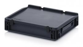 ESD-ED4375-HG | AUER Euro-bak ESD antistatisch, gesloten uitvoering met scharnierend deksel, afm. 400x300x90 mm (lxbxh), handgrepen gesloten, volume 5.2 l, stapelbaar, RAL 9017 zwart, gewicht 1,33 kg, fabrieksgarantie 5 jr