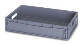 EG6412 | AUER eurobox gesloten uitvoering, afm. 60x40x12 cm (lxbxh), handgrepen open, stapelbaar, RAL 7001 zilvergrijs, inhoud 24 l, gewicht 1,26 kg