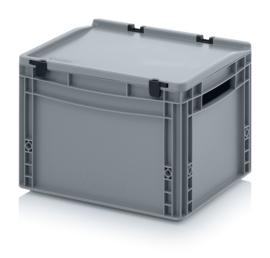 ED4327 | AUER eurobak met scharnierend deksel en sluitingen, afm. 40x30x28,5 cm (lxbxh), handgrepen open, stapelbaar, zilvergrijs RAL 7001, volume 26 liter, gewicht 1,82 kg, fabrieksgarantie 5 jr
