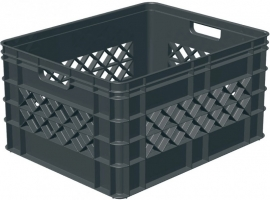 59700336 | SUNWARE Square multifunctionele open boodschappen/opbergkrat, afm. 50x40x26 cm (lxbxh), inhoud 52 liter, stapelbaar, kleur antraciet, gewicht 1,7 kg