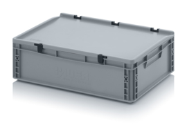 ED6417-HG | AUER Eurobak met scharnierend deksel en sluitingen, afm. 60x40x18,5 cm (lxbxh), handgrepen gesloten, stapelbaar, zilvergrijs RAL 7001, volume 35 liter, gewicht 2,26 kg, fabrieksgarantie 5 jr