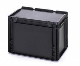 ESD-ED4327-HG | AUER Euro-bak ESD antistatisch, gesloten uitvoering met scharnierend deksel, afm. 400x300x285 mm (lxbxh), handgrepen gesloten, volume 26 l, stapelbaar, RAL 9017 zwart, gewicht 2,08 kg, fabrieksgarantie 5 jr