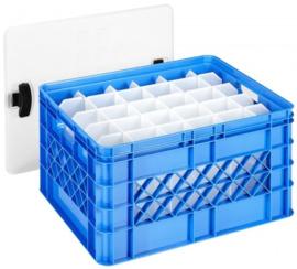 59700360 | SUNWARE Square glazenkrat met deksel voor 60 bier- of frisdrankglazen, afm. 50x40x26 cm (lxbxh), inhoud 52 liter, stapelbaar, kleur blauw, gewicht 2,2 kg