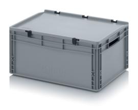 ED6427 | AUER eurobak met scharnierend deksel en sluitingen, afm. 60x40x28,5 cm (lxbxh), handgrepen open, stapelbaar, zilvergrijs RAL 7001, volume 56 liter, gewicht 2,92 kg, fabrieksgarantie 5 jr