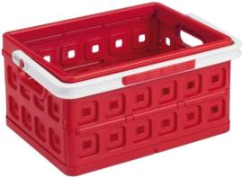57500605 | SUNWARE Square stapelbare vouwkrat met open handgrepen en draaghengsel, afm. 43,5x31x21,3 cm (bxdxh), draagvermogen 15 kg, inhoud 24 liter, kleur rood/wit, gewicht 1,6 kg
