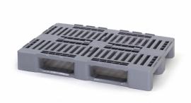 H1-RG | AUER hygiëne kunststof pallet, 1200x800x160 mm, 3 sledes niet dicht gelast, kleur zilvergrijs