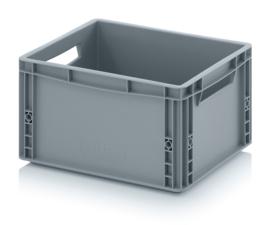 EG4322 | AUER eurobak gesloten uitvoering, afm. 40x30x22 cm (lxbxh), handgrepen open, stapelbaar, zilvergrijs, 20 liter, gewicht 1,3 kg