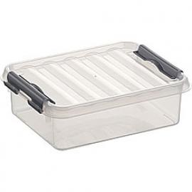 77900609 | SUNWARE Q-Line opbergbox 1,0 liter, afm. 20x15x6 cm (bxdxh), transparant/metallic, stapelbaar
